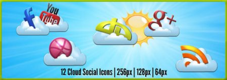 12 Cloud Social Icons Pack
