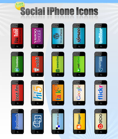 PSD Template - Social iPhone Icons Set