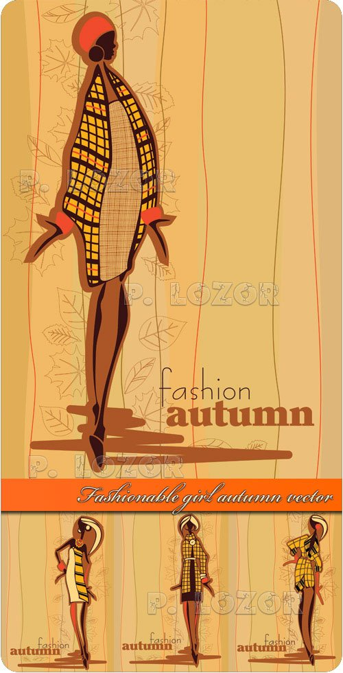 Fashionable girl autumn vector