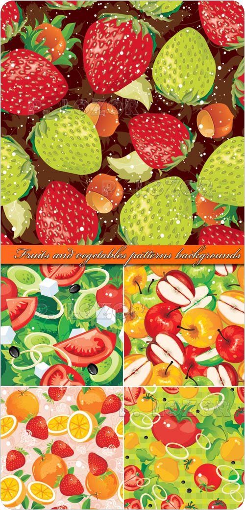 Fruits and vegetables patterns backgrounds vector