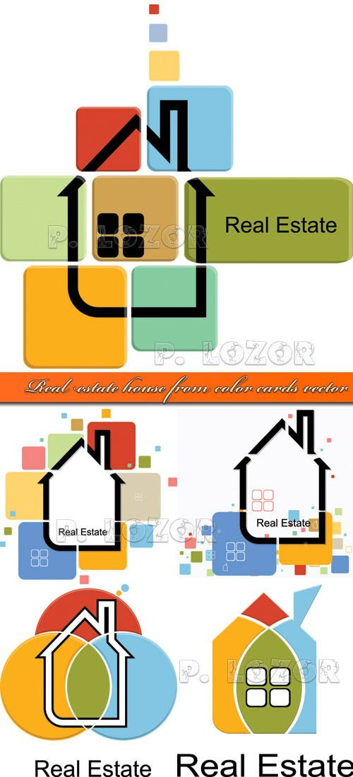 Real estate house from color cards vector